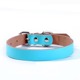Wholesale Leather Leashes Wholesale - 2016 Hot Leather Dog Collars Luxury Genuine Leather Plain Pet Dog Collar Blue Pink JL-QS028 free shipping