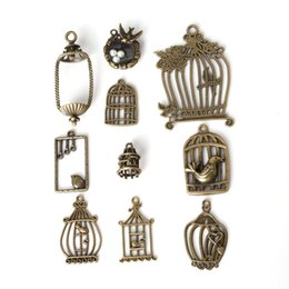 Wholesale Bird Cage Pendant Charm - Free shipping Wholesale 38pcs lot Mixed Zinc Alloy Bird Cage Charms Antique Bronze Plated Pendants For DIY Jewelry Findings jewelry making
