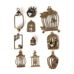 12pcs Birdcage Charms Bronze Tone Vintage Love Coeurs Oiseaux Pendentifs 33x20mm
