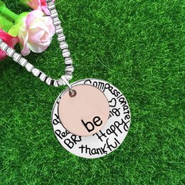 "Wholesale happy friends - Fashion Hot sell ""Be"" Graffiti Friend Brave Happy Strong Thankfull Charm Pendant Necklaces maxi statement 160333"