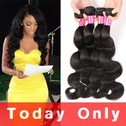 Wholesale Virgin Indian Wavy Hair - 10A Mink Brazilian Virgin Hair Body Wave 3 or 4 Bundles Unprocessed Peruvian Raw Indian Malaysian Wet And Wavy Human Hair Extensions