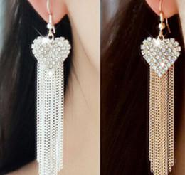 Wholesale Linear Chandelier - Beautiful Love Heart Party Long Tassels Rhinestone Hook Dangle Ear Linear Drop Earrings