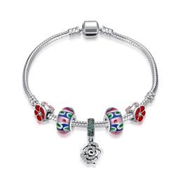 Wholesale Sterling Silver European Style Beads - European Charm Beads DIY Style Bracelets Women Jewelry 925 sterling silver inlaid roses bracelet Chain length 19cm