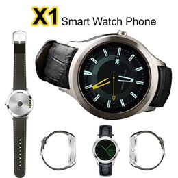 Wholesale Dual Sim Ios - Circle X1 Android 4.4 Bluetooth Smart Watch Phone 3G WCDMA GSM SIM RAM 512M ROM 4GB Dual Core Smartphone Heart Rate Monitor GPS Smartwatch