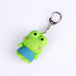 Wholesale Toy Plastic Frog - Cartoon Frog Prince Keychain Voice Led key rings creative toys Lovely hanged adorn Accessories Trinket charm strap 10pcs lot