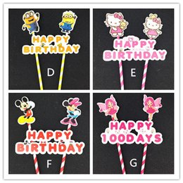 Wholesale Cake Cupcake Candles - New Arrive Happy birthday flag with paper straw cupcake cake topper birthday cake accessories party supplies