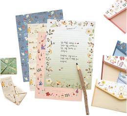 Wholesale Letter Stationary - Wholesale-6Pcs pack New Sweet Little Flowers Retro Envelope Letter Set Paper Message Card Letter Stationary Storage Paper Gift H2204
