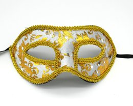 Wholesale Venice Masks Blue - DHL Shipping 100pcs lot Half Face Mask Halloween Masquerade mask famale Venice Italy flathead lace bright cloth masks