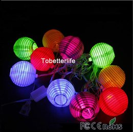 chinese lantern festival decorations Promo Codes - Chinese lanterns round rgby ww white paper lanterns light led strings 10pcs Wedding christmas Xmas festival Halloween parties decoration