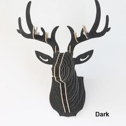 Wholesale Reindeer Head - Crazy 3D DIY Wooden Puzzle Animal Head Jigsaw Wooden Craft for Home Decoration Wall Hanging, Reindeer Head-deer