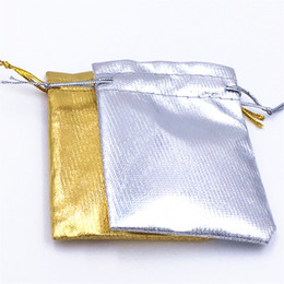Wholesale Silver Jewellery Bag - Free shipping 100pcs Lot 70*50mm 2 Colors Gold Silver Wedding Gift Bag Drawstring Jewellery Pouch Wedding Gift Bag HOT