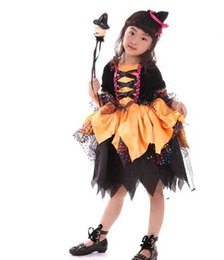 Wholesale Children S Fancy Dress - Halloween Cartoon Character Costume Girl Fun Witch Costume Child Performance Stage Cosplay Performance Fancy Dress UP Costumes For Girls