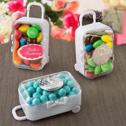 Wholesale Gift Suitcases - FREE SHIPPING 12PCS White Acrylic Mini Rolling Travel Suitcase Candy Box Baby Shower Wedding Favors Party Sweet Table Decors Supplies Gifts