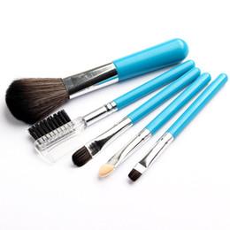 Wholesale Mini 5pcs Makeup Brush Set - Makeup Brushes Set Tools Profissional Mini 5Pcs Blue Cosmetics Tools Eyeshadow Eye Face Makeup Brush Gift Set Blush Soft Brushes Kit New