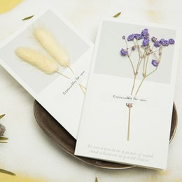 Wholesale Free Thanksgiving Decorations - 2018 Small fresh creative dried flowers Christmas greeting Thanksgiving day card General Welfare card Birthday card free shipping