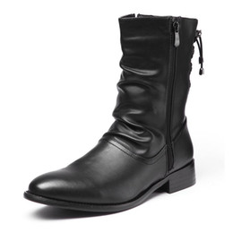 Wholesale Men Pointed Short Boots - New Fashion Men Boots Genuine Leather Casual zipper Pointed Toe Mid Calf Shoes Men Short Boots Motorcycle Cowboy Boots