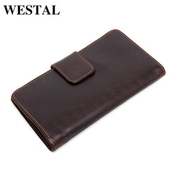 Wholesale Leather Long Billfolds - Wholesale- WESTAL Genuine Leather Men Wallets Fashion Clutch Bags Man Billfold Card Holders Business Bag Male Multifunctional Purse 3314