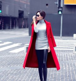 Wholesale Down Double Green - Free shipping Turn Down Collar Long Sleeve Women One Button Double Wool Coat Slim Autumn Winter Jacket Red Black Green