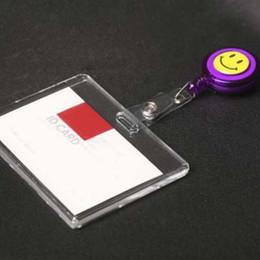 support en plastique Promotion 5 pcs acrylique badge d'identification d'entreprise avec insigne rétractable bobine insigne lanière horizontale style bureau fournitures scolaires, matériel Escolar