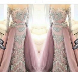 Wholesale Arab Cap - Off Shoulder Arab See Through Long Sleeve Evening Dresses Overskirts 2016 Long Formal Dress Sexy Party Prom Gowns Sweep Train Plus Size