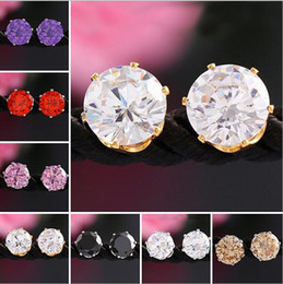 Wholesale Candy Statement - Hot 7 colorful round earrings for women double sided Candy crystal Bridal wedding luxury ear stud round diamond statement earring free ship