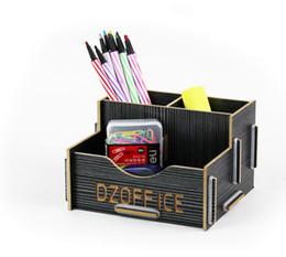 Atacado-Desktop multifuncional caneta de madeira titular combinacional caixa de armazenamento cheap wooden pen storage boxes de Fornecedores de caixas de armazenamento de canetas de madeira