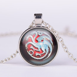 Wholesale Glass Pendants For Necklaces Wholesale - Game of Thrones necklace Targaryen dragon Cabochon Glass time gem stone pendants for women men children movie jewelry gift 161017