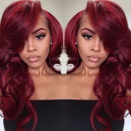 Wholesale Human Red Lace Wig - 99J Color Lace Front Human Hair Wigs Side Part 9A Virgin Brazilian Human Hair Full Lace Wigs Red Color Lace Front Wigs