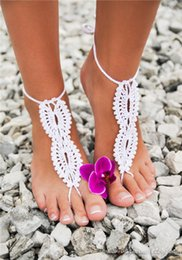 Wholesale Lace Wedding Flats For Bride - 2016 Summer Beach Crochet Infinity Barefoot Sandals for Wedding Beach Pool Wear Wedding Bride Anklet Foot Bracelet Bohemian Bridal Shoes