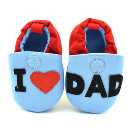 Wholesale Wholesale Flats For Toddlers - Fashion Baby Shoes For Girls Boys Lovely Toddler First Walkers Baby shoes Round Toe Flats Soft Slippers Shoes I Love MOM DAD