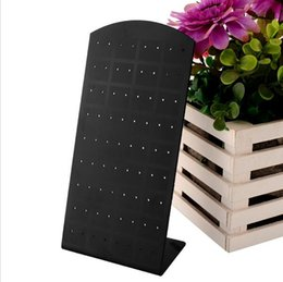 Wholesale Jewelry Display Hole - New 72 Holes Earrings Ear Studs Jewelry Stand Show Plastic Display Rack Stand Organizer Holder Showcase Black Earring Display Holder 2061008