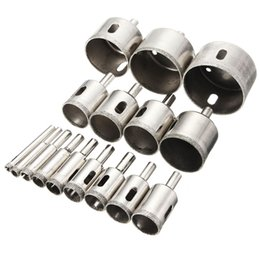 Wholesale Metal Hole Saws - 16pcs set 6mm-50mm Diamond Hole Saw Core Drill Bit Set Tile Ceramic Glass Porcelain Marble Holesaw High Quality