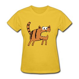 Wholesale Cute Collared Shirts For Girls - Cute cat girl's tee shirt funny cartoon printed women's daily short tshirts regular O-collar short-sleeve tops for girls Angry kitten