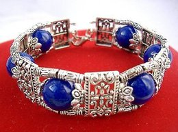 Wholesale Cheap Jade Bracelets - Wholesale cheap Beautiful Tibet Silver blue lapis lazuli Bead handmade Bracelet 8'' & Free Shipping
