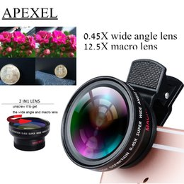 Wholesale Professional Iphone - Wholesale-TECHOO Professional HD Camera Lens for iPhone 6s   6s Plus   6   5s 0.45x Super Wide Angle and 12.5x Super Macro Lens APL-0.45WM