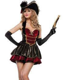 Wholesale Sexy Red Pirate Costume - Free shipping Halloween Cosplay Sexy Pirate Costumes For Women Black witn red vintage Fancy Pirate costume bustier neckline uniform dress