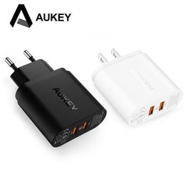 Wholesale android desktops - High quality Aukey quick charge 2.0 dual ports 36W USB wall chargers fast desktop charging for Android IOS mobile phone