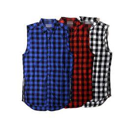großhandel übergroße t-shirts Rabatt Großhandels-Tyga L K Hip-Hop-Goldseitenreißverschluß übergroßes Plaidflanellhemdt-stück Männer beiläufiges Zippper rotes kariertes Tartan letzter König T-Shirt