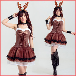 Wholesale Coffee Color Dresses - In Stock 2017 Christmas Dress Cute Deer Animal Cosplay Costumes Coffee Color Short Tiered Prom Dresses Evening Wear