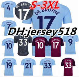 Wholesale Shirt White - 17 18 man City soccer Jersey 2017 2018 Man City G.Jesus DZEKO KUN AGUERO KOMPANY TOURE YAYA DE BRUYNE football Shirts