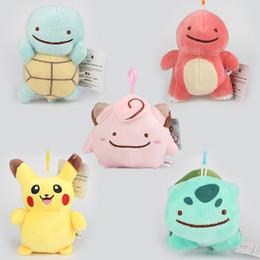 Wholesale Stuffed Tortoise - 2016 EMS Free Poke Plush Pendant Hot 10-13CM Pikachu Tortoise Seed Plush Stuffed Toys For Kids Gifts
