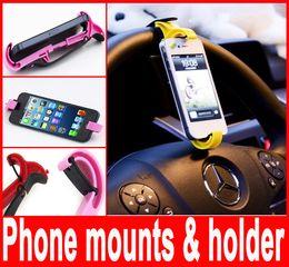 Wholesale Driving Wheel - Steering wheel phone mounts & holder Universal Drive Travel Car Smart Stand Phone Holder For iphone Samsung ipad mini PDA GPS Hot