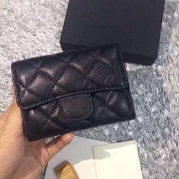 Wholesale Female Business Casual - 2017 Women's Fashion Card Holders Genuine Leather Lambskin Quilted Flap Mini Wallets Female Purses Card Holder Coin Pouch wiht box