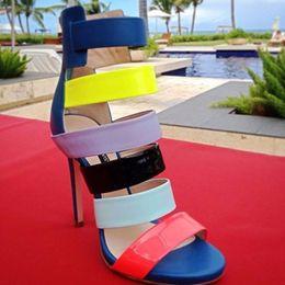 Wholesale Roman Sandals Style Shoes - 2016 New fashion handmade high heel sandals roman style open toe ankle boots Multi-colored sandals shoes size4-15 women shoes plus size