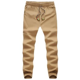 Wholesale Khaki Harem Pants Men - Wholesale-Plus Size M- 5XL Mens Chino Pants Casual Fashion Black Khaki Joggers Cotton Sweatpants Men Elastic Harem Pants Sarouel Homme