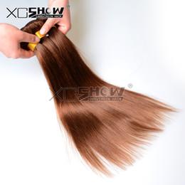 Wholesale Unprocessed Honey - 3 Bundles Midium Brown Remy Hair 7A Unprocessed Peruvian Virgin Hair Body Wave Honey Blonde Hair Extensions #4 Show Silky Straight Sale