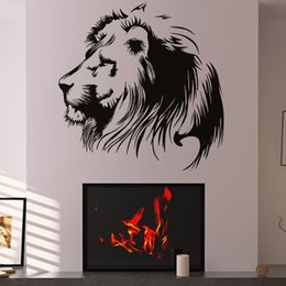 Wholesale Lion Head Wall Decal - Vinyl Art Wall Decal Black Head Of Lion Wall Sticker Living Room Home Decor Animal Mural