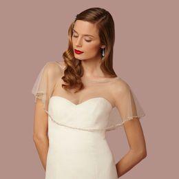 Wholesale Wholesale Yellow Tulle - Ivory In Stock Wedding Bolero Women Cheap Wedding Accessories 2017 New Beaded Bridal Jacket Cape Short Tulle Wrap