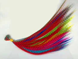 Wholesale Feather Hairpieces - Wholesale-1000pcs 16inch 12colors available Straight Grizzly feather Hair Extensions Heat Resistant hairpiece with free beads and hooks