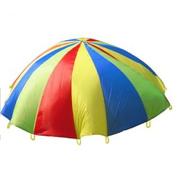 Wholesale Red Developments - Wholesale-2M 78inch Child Kid Sports Development Outdoor Rainbow Umbrella Parachute Toy Jump-sack Ballute Play Parachute hot